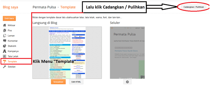 upload template web pulsa